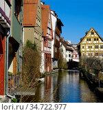 Fachwerkhaeuser am Fluss Blau im historischen Ulmer Fischerviertel... Стоковое фото, фотограф Zoonar.com/Bernhard Kuh / easy Fotostock / Фотобанк Лори