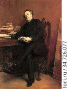 Meissonier Jean-Louis Ernest - Portrait of Alexandre Dumas Jr - French... Стоковое фото, фотограф Artepics / age Fotostock / Фотобанк Лори