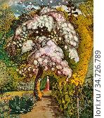 Palmer Samuel - Garden in Shoreham - British School - 19th Century. Редакционное фото, фотограф Artepics / age Fotostock / Фотобанк Лори