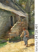 Pratt Jonathan - Elderly Man with Walking Stick Standing by a Stone... Редакционное фото, фотограф Artepics / age Fotostock / Фотобанк Лори