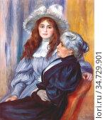 Pierre-Auguste Renoir - Berthe Morisot and Her Daughter Julie Manet... Стоковое фото, фотограф Artepics / age Fotostock / Фотобанк Лори