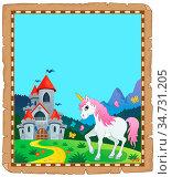 Fairy tale unicorn topic parchment 2 - picture illustration. Стоковое фото, фотограф Zoonar.com/Klara Viskova / easy Fotostock / Фотобанк Лори