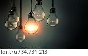 Illuminating light bulb in the dark, idea concept, realistic 3D image. Стоковое фото, фотограф Zoonar.com/Zoya Fedorova / easy Fotostock / Фотобанк Лори