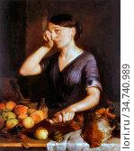 Spencer Lilly Martin - Peeling Onions - British School - 19th Century. Редакционное фото, фотограф Artepics / age Fotostock / Фотобанк Лори