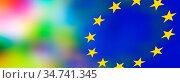 Transparente Farben-Lichter gehen in das Blau und dem 12-Sterne-Symbol... Стоковое фото, фотограф Zoonar.com/Wolfgang Rieger / easy Fotostock / Фотобанк Лори