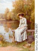 Wilson Charles Edward - by the Pool - British School - 19th Century. Редакционное фото, фотограф Artepics / age Fotostock / Фотобанк Лори