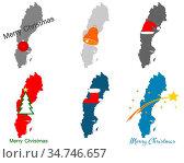 Karte von Schweden mit Weihnachtssymbolen - Map of Sweden with Christmas... Стоковое фото, фотограф Zoonar.com/lantapix / easy Fotostock / Фотобанк Лори