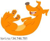 Cartoon Illustration of Happy Red Dog Animal Character. Стоковое фото, фотограф Zoonar.com/Igor Zakowski / easy Fotostock / Фотобанк Лори