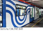 Moskva train at Kuntsevskaya metro station. Moscow, Russia. Редакционное фото, фотограф Валерия Попова / Фотобанк Лори