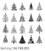 Christmas trees silhouettes. Стоковая иллюстрация, иллюстратор Миронова Анастасия / Фотобанк Лори