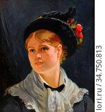 Soubre Charles - Portrait De Jeune Femme Au Chapeau Fleuri - Belgian... Стоковое фото, фотограф Artepics / age Fotostock / Фотобанк Лори