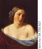 Lotz Károly - Portrait of a Young Woman - Hungarian School - 19th... Стоковое фото, фотограф Artepics / age Fotostock / Фотобанк Лори