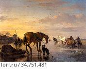 Moerenhout Joseph Jodocus - Paarden En Sledes Op Het Ijs - Belgian... (2020 год). Редакционное фото, фотограф Artepics / age Fotostock / Фотобанк Лори