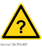 Fragezeichen und Warnschild - Question mark and danger sign. Стоковое фото, фотограф Zoonar.com/Robert Biedermann / easy Fotostock / Фотобанк Лори