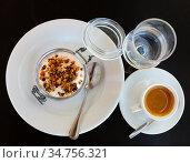 Tiramisu traditional italian dessert, garnished with cookies. Стоковое фото, фотограф Яков Филимонов / Фотобанк Лори