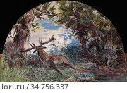 Lotz Károly - Deer-Hunting - Hungarian School - 19th Century. Стоковое фото, фотограф Artepics / age Fotostock / Фотобанк Лори