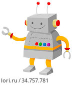 Cartoon Illustration of Cute Robot or Droid Fantasy Character. Стоковое фото, фотограф Zoonar.com/Igor Zakowski / easy Fotostock / Фотобанк Лори