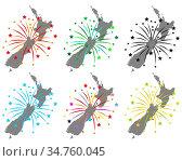 Karte von Neuseeland mit Feuerwerk - Map of New Zealand with fireworks. Стоковое фото, фотограф Zoonar.com/lantapix / easy Fotostock / Фотобанк Лори