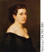 Lotz Károly - Blue-Eyed Woman - Hungarian School - 19th Century. Редакционное фото, фотограф Artepics / age Fotostock / Фотобанк Лори