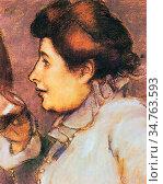 Rippl-Ronai Jozsef - Frau Mit Glas - Hungarian School - 19th Century. Редакционное фото, фотограф Artepics / age Fotostock / Фотобанк Лори