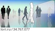 Unterschiedliche Silhouetten von Menschen in Bewegung in der Stadt... Стоковое фото, фотограф Zoonar.com/wolfgang rieger / easy Fotostock / Фотобанк Лори