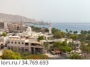 Cityscape of Aqaba at sunny day (2018 год). Редакционное фото, фотограф EugeneSergeev / Фотобанк Лори