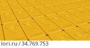 Множество золотых слитков высшей пробы. Стоковая иллюстрация, иллюстратор WalDeMarus / Фотобанк Лори