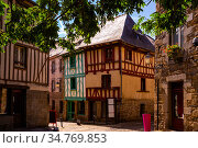 Beautiful cityscape of the ancient traditional houses with wooden beams in Saint-Brieuc. France. Стоковое фото, фотограф Яков Филимонов / Фотобанк Лори