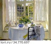 Adam Patrick William - the Morning Room - British School - 19th Century... Стоковое фото, фотограф Artepics / age Fotostock / Фотобанк Лори