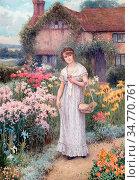 Affleck William - Woman in Her Garden 2 - British School - 19th Century... Стоковое фото, фотограф Artepics / age Fotostock / Фотобанк Лори