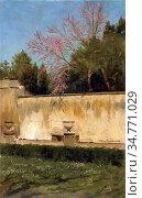 Alma-Tadema Lawrence - a Corner of the Gardens of the Villa Borghese... Стоковое фото, фотограф Artepics / age Fotostock / Фотобанк Лори