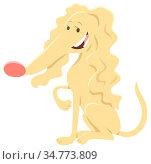 Cartoon Illustration of Happy Female Beige Dog Domestic Animal Character... Стоковое фото, фотограф Zoonar.com/Igor Zakowski / easy Fotostock / Фотобанк Лори
