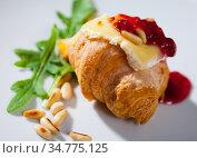 Mini croissant with Camembert. Стоковое фото, фотограф Яков Филимонов / Фотобанк Лори