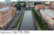 Крюков канал у впадения в Мойку. Санкт-Петербург. Вид сверху. Стоковое видео, видеограф Beerkoff / Фотобанк Лори