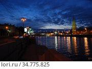 Москва-река. Кремль. Храм Христа Спасителя (2009 год). Редакционное фото, фотограф lana1501 / Фотобанк Лори