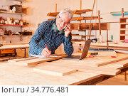 Alter Handwerker telefoniert mit dem Handy in seiner Schreinerei ... Стоковое фото, фотограф Zoonar.com/Robert Kneschke / age Fotostock / Фотобанк Лори