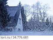 Eiskristalle auf einer Fesnsterscheibe mit Blick auf ein Haus, Witten... Стоковое фото, фотограф Zoonar.com/Stefan Ziese / age Fotostock / Фотобанк Лори
