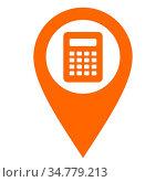 Taschenrechner und Kartenmarkierung - Calculatur and location pin. Стоковое фото, фотограф Zoonar.com/Robert Biedermann / easy Fotostock / Фотобанк Лори