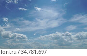 Time Lapse of sky. Beautiful panorama of blue sky with white clouds. Relaxing view of moving transforming clouds. Clear very nice soft blue sky. Formating white cloudscape. Full HD 1080p. Стоковое видео, видеограф Dmitry Domashenko / Фотобанк Лори