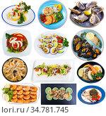 Set of assorted seafood dishes. Стоковое фото, фотограф Яков Филимонов / Фотобанк Лори