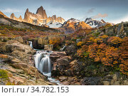 Fitz Roy Massif and waterfall in Los Glaciares National Park, Argentina. Стоковое фото, фотограф Jeff Vanuga / Nature Picture Library / Фотобанк Лори