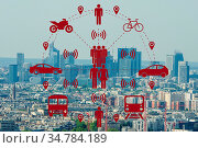 Ridesharing and carpooling concept in the city. Стоковое фото, фотограф Zoonar.com/Elnur Amikishiyev / easy Fotostock / Фотобанк Лори
