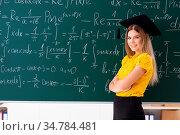 Young female student in front of the chalkboard. Стоковое фото, фотограф Zoonar.com/Elnur Amikishiyev / easy Fotostock / Фотобанк Лори