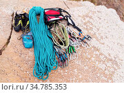 Climbing equipment - bag for magnesia rope and carbines view from... Стоковое фото, фотограф Zoonar.com/Ian Iankovskii / easy Fotostock / Фотобанк Лори