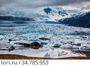 Vatnajokull, Iceland's largest glacier on the island. Glacier provides... Стоковое фото, фотограф Zoonar.com/kavram / easy Fotostock / Фотобанк Лори