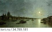 Pether Henry - St Pauls and the Thames by Moonlight - British School... Редакционное фото, фотограф Artepics / age Fotostock / Фотобанк Лори