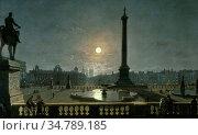 Pether Henry - Trafalgar Square by Moonlight - British School - 19th... Редакционное фото, фотограф Artepics / age Fotostock / Фотобанк Лори