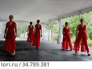 Dancers Performing During Dance Recital, Tent Venue Due to Corona... Редакционное фото, фотограф Barrie Fanton / age Fotostock / Фотобанк Лори