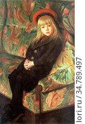 Stevens Gustave Max - a Portrait of a Girl - Belgian School - 19th... Редакционное фото, фотограф Artepics / age Fotostock / Фотобанк Лори