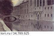 Khnopff Fernand - Herinnering Aan Vlaanderen - Een Gracht - Belgian... Редакционное фото, фотограф Artepics / age Fotostock / Фотобанк Лори